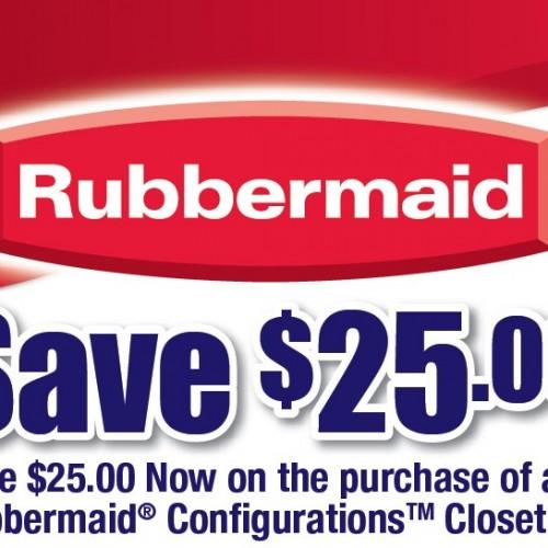 $25.00 Rubbermaid Closet Configurations Printable Coupon