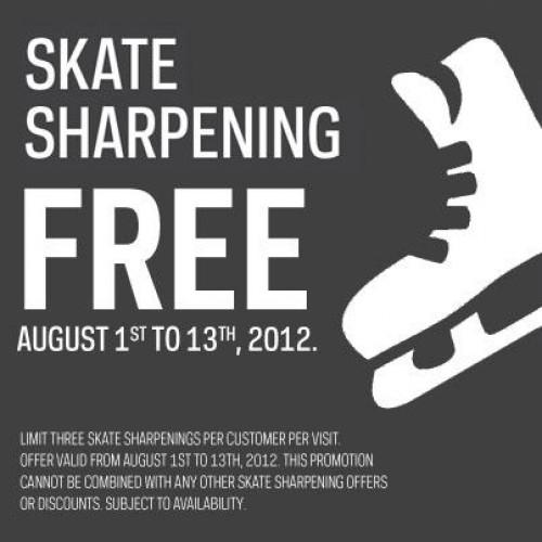 Free Skate Sharpening at Sport Chek Aug 1 – Aug 13