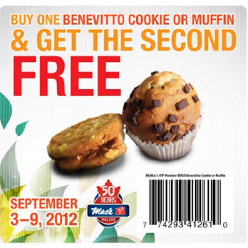 Mac's – BOGO FREE Benevitto Cookies or Muffins *ON Only*