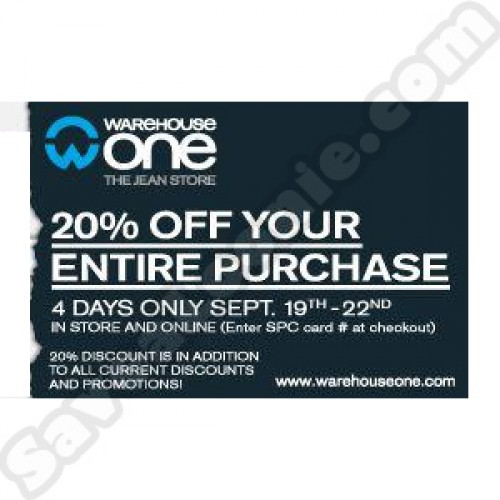 Warehouse One – 20$ Off *SPC Members Only*