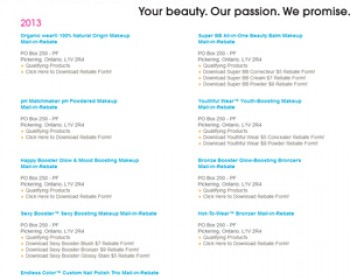 Physicians Formula – 2013 Mail in Rebates