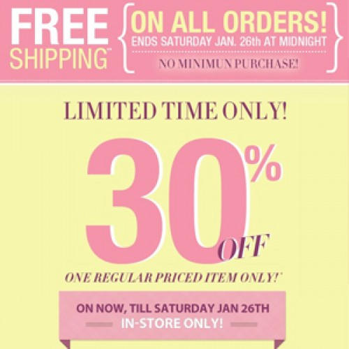 Suzy Shier – Free Shipping + 30% Off In-Store