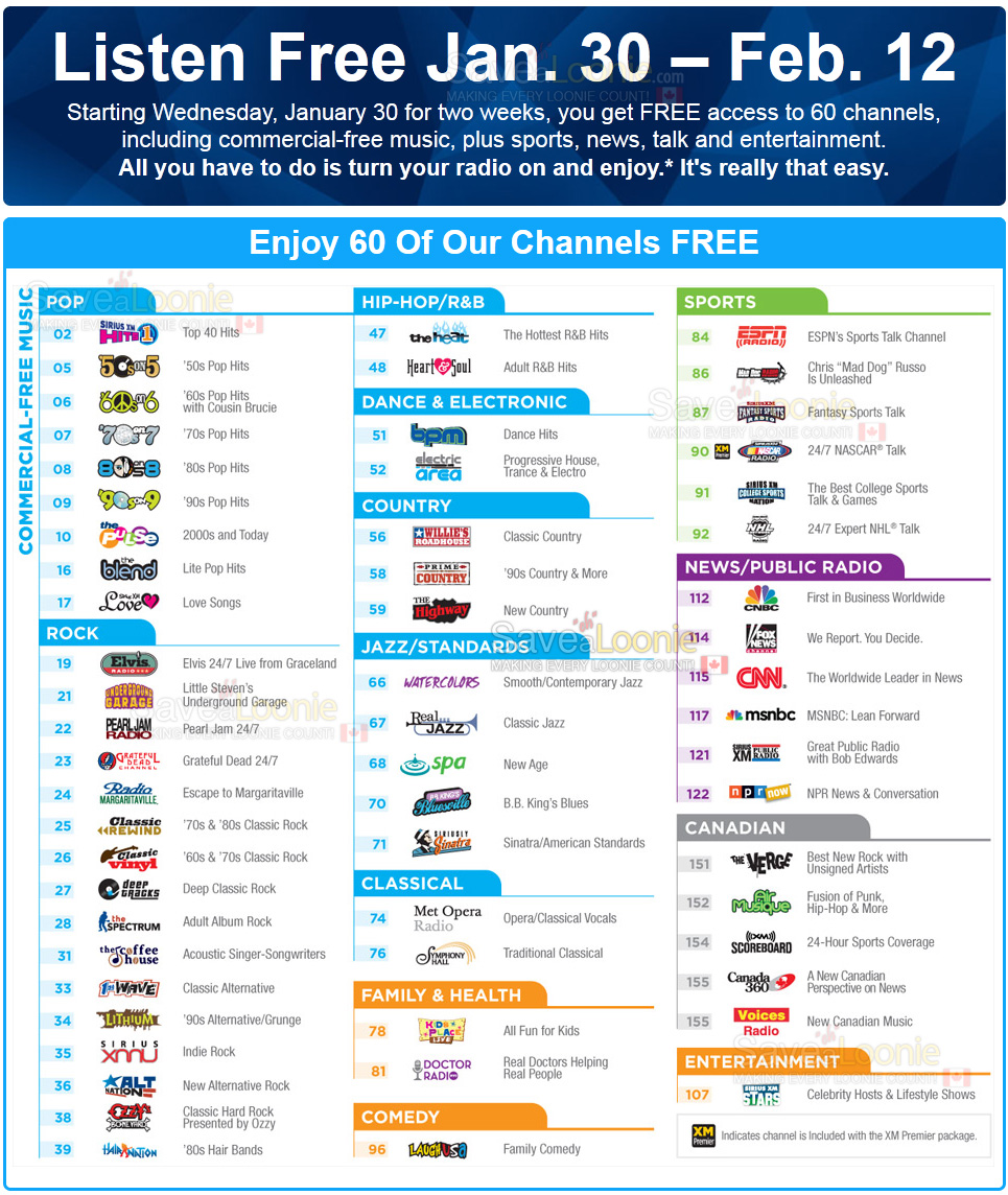 60 free sirius xm channels starting january 30th! — deals from