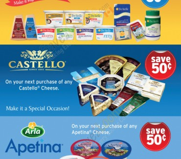 Apetina, Tre Stelle & Castello Cheese Coupons