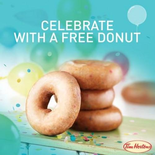 Tim Horton's Free Birthday Cake Donut