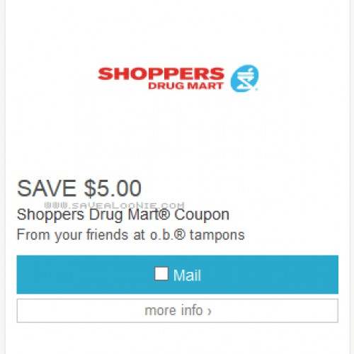 Free $5 Off Shoppers Drug Mart Coupon