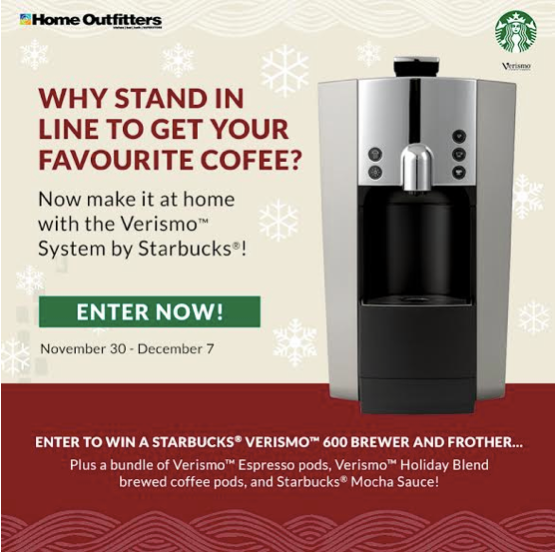 Home Outfitters - Starbucks Verismo Brewer Giveaway