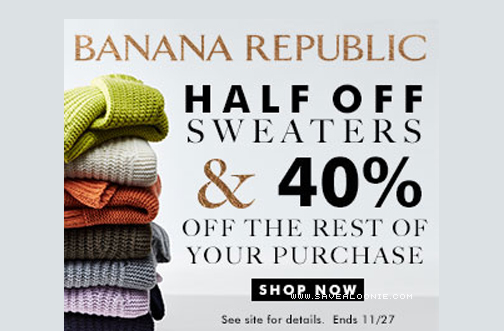 Just 48 days left to save with 10 new Black Friday deals from Banana Republic. Don't miss great deals like 15% off any order with Gap Credit Card.5/5(3).