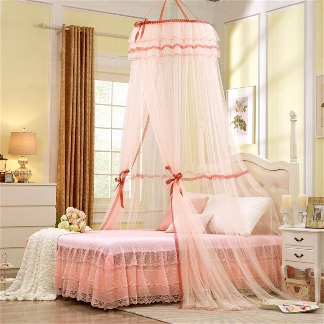 round hoop princess pastoral lace bed canopy deals from savealoonie. Black Bedroom Furniture Sets. Home Design Ideas