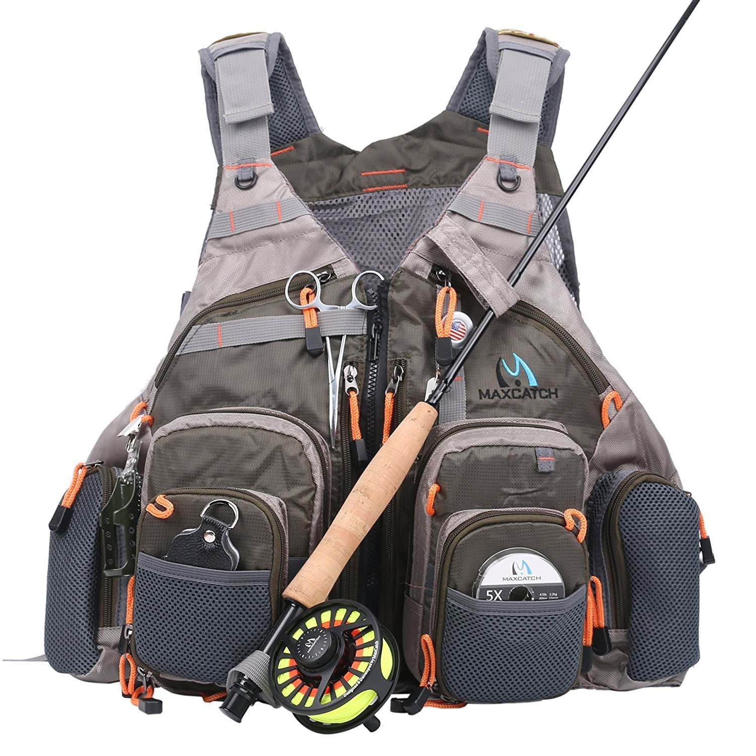 Maxcatch fly fishing vest mesh vest free size deals from for Fishing vest amazon