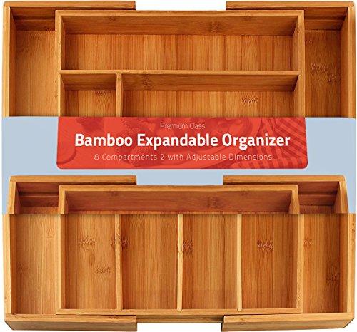 Bamboo Expandable Cutlery Tray Silverware Utensils Organizer