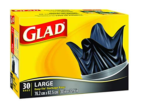 Glad Black Garbage Bags Large 77 Litres Easy Tie Handles 30 Trash