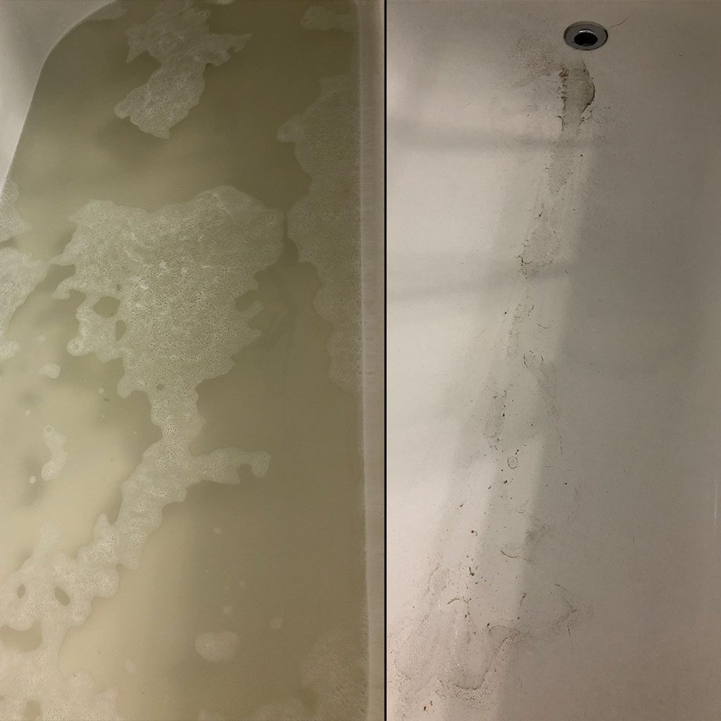 dirty tub water after cleaning reusable bags