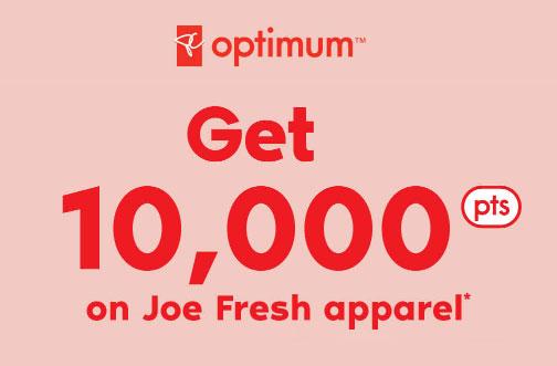 joe fresh pc optimum points