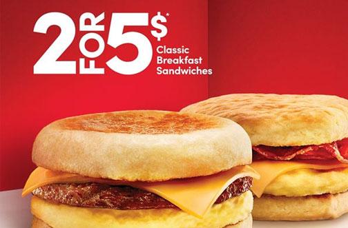 tim hortons breakfast sandwich deal