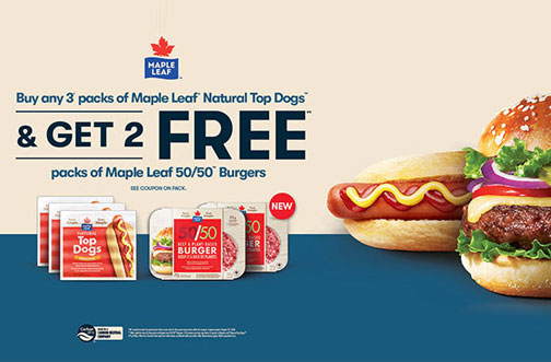free maple leaf 50/50 burgers