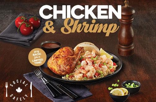 swiss chalet chicken & shrimp
