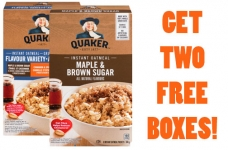Get 2 Free Boxes of Quaker Instant Oatmeal
