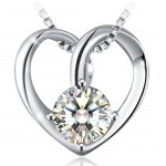 J.Rosée Silver Fiery Heart Cubic Zirconia Pendent Necklace
