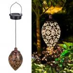 Solar LED Hanging Lights Olive Shape Retro Lantern Outdoor Waterproof Lamp