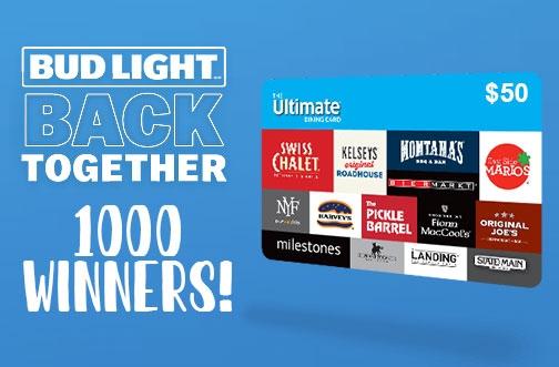 Bud Light Contest | Back Together Gift Card Giveaway