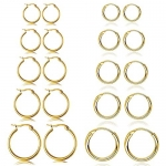 10 Pairs Small Hoop Earring Set Stainless Steel, Hypoallergenic 10-20MM