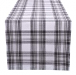 Cotton Classic Check Plaid Table Runner 16″x72″ with Mitered Corners & Generous Hem, Charcoal