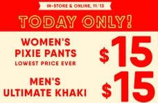 Today Only! $15 Pixie Pants & Ultimate Khakis