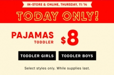 Today Only! $8 Toddler Jammies