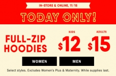 Today Only! Full Zip Hoodies on Sale