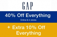 GAP 40% Off Everything + Bonus 10% Off Code
