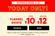 Today Only! $10 & $12 Flannel Shirts