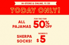 Today Only! 50% off Jammies + $5 Sherpa Socks