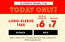 Today Only! Long Sleeve Tees for the Family