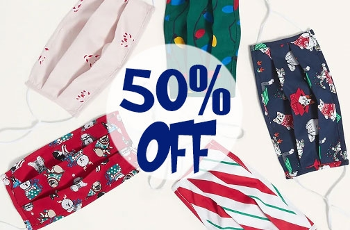 Save over 50% off Reusable Masks (even Holiday themed!) at Old Navy
