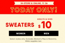 Today Only! $10 Sweaters