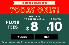 Today Only! $8 & $10 Plush Tees