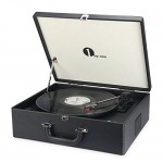 1byone Suit-case Style Turntable with Speaker, Bluetooth support and Vinyl-To-MP3 Recording, Belt Driven Record Player
