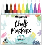 Chalkola 1mm Extra Fine Tip Chalk Markers (10 Pack) Neon Color
