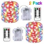 2 Pack Fairy String Lights Battery Powered 33ft 100 LED
