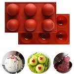 2 Pcs Large 6-Cavity Semi Sphere Silicone Mold
