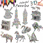 3D Coloring Painting Puzzle (10 Pack)