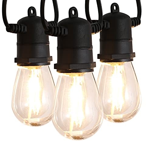 Patio String Lights with Dimmable Edison Vintage Plastic Bulbs, 48ft, Weatherproof