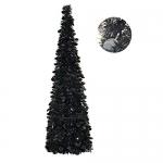 5′ Slim Black Tinsel Pop-Up Christmas Tree