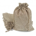 50PCS Burlap Favor Gift Bags with Drawstring and Cotton Lining (9x12cm)