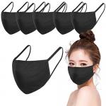 6 Pack Reusable Cotton Face Masks, Black