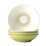 Rachael Ray Dinnerware Circles and Dots Collection 4-Piece Stoneware Fruit Bowl Set