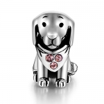 Puppy Dog Animal Charms Crystal Jewelry 925 Sterling Silver Bead Fit Pandora Bracelets for Women