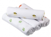 aden by aden + anais Muslin Swaddle 4 Pack, Life's a Hoot