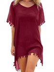 Adreamly Women's Chiffon Tassel Kaftan Swimsuit Beach Cover Up
